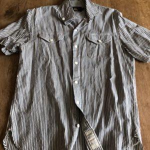 RRL s/s railroad stripe selvedge shirt